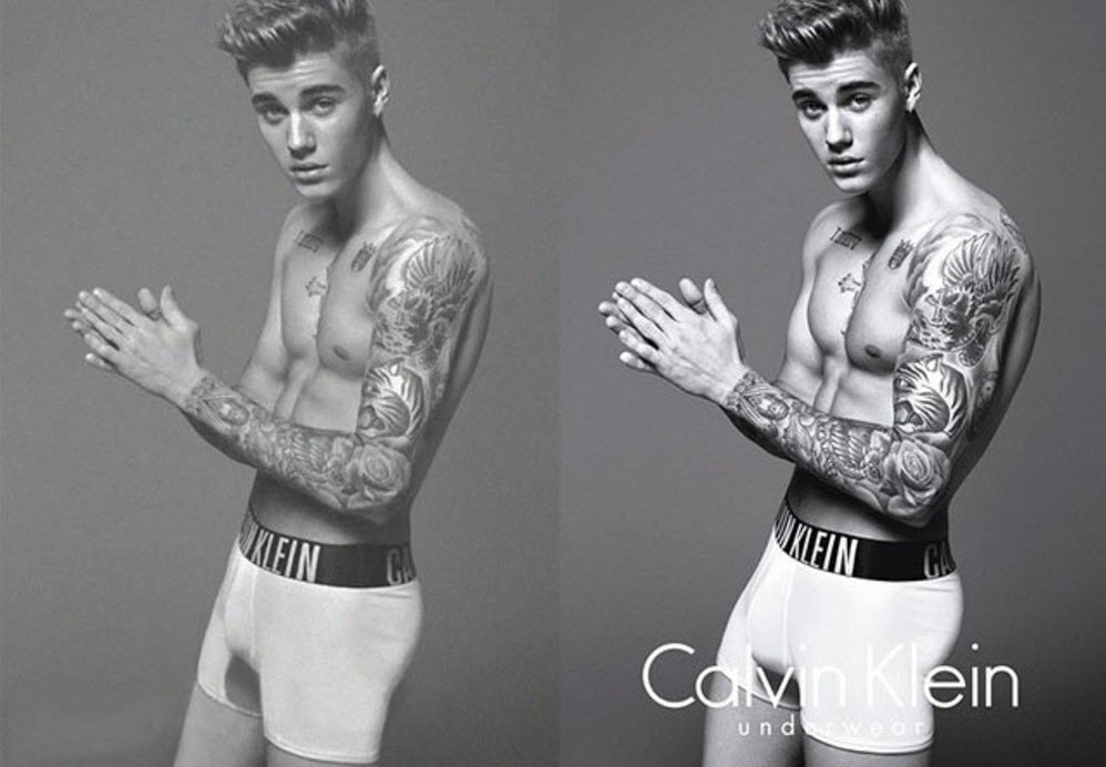 Justin Bieber by Mario Testino, before and after photoshop
